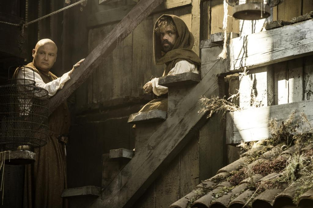 Conleth Hill as Varys and Peter Dinklage as Tyrion Lannister _ photo Helen Sloan_HBO