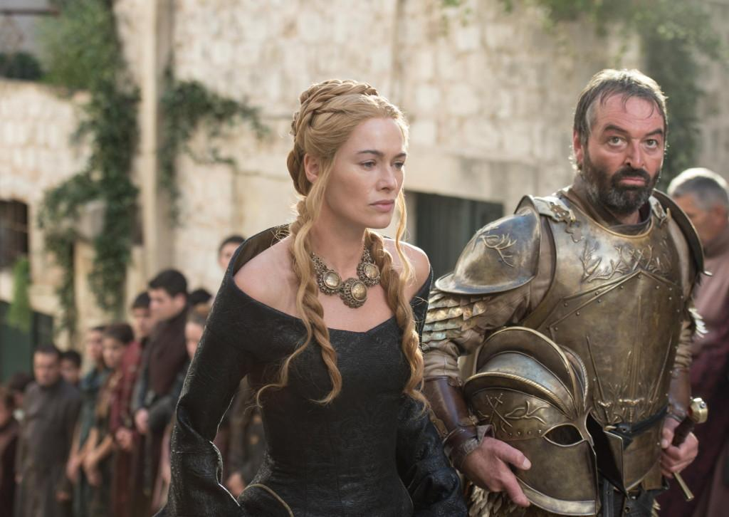 Lena Headey as Cersei Lannister and Ian Beattie as Meryn Trant_ photo Macall B. Polay_HBO
