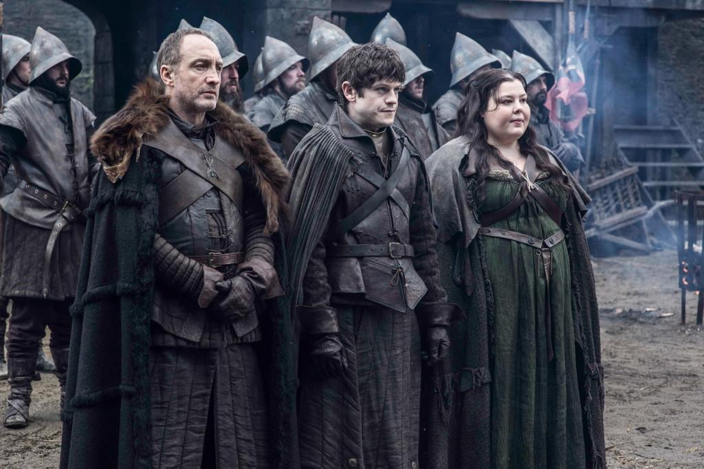 Michael McElhatton as Roose Bolton, Iwan Rheon as Ramsay Bolton and Elizabeth Webster as Walda Frey _ photo Helen Sloan_HBO