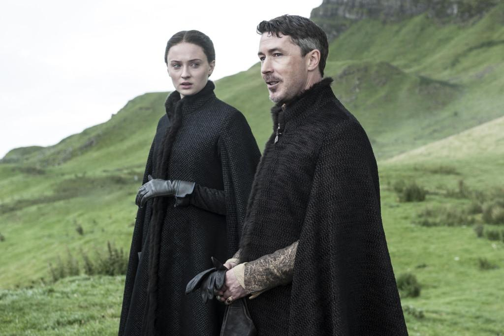 Sophie Turner as Sansa Stark and Aidan Gillen as Littlefinger _ photo Helen Sloan_HBO
