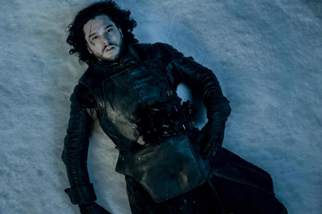 Jon Snow bleeding into the snow