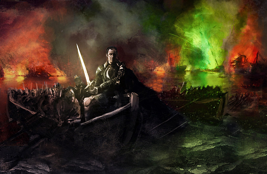 Stannis Baratheon with Lightbrighter at Blackwater by WillHarrisArt