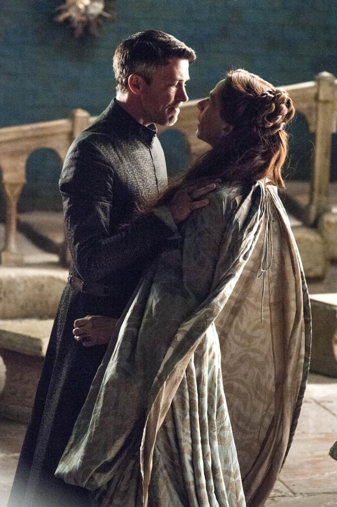 Petyr pushing Lysa through the Moon Door