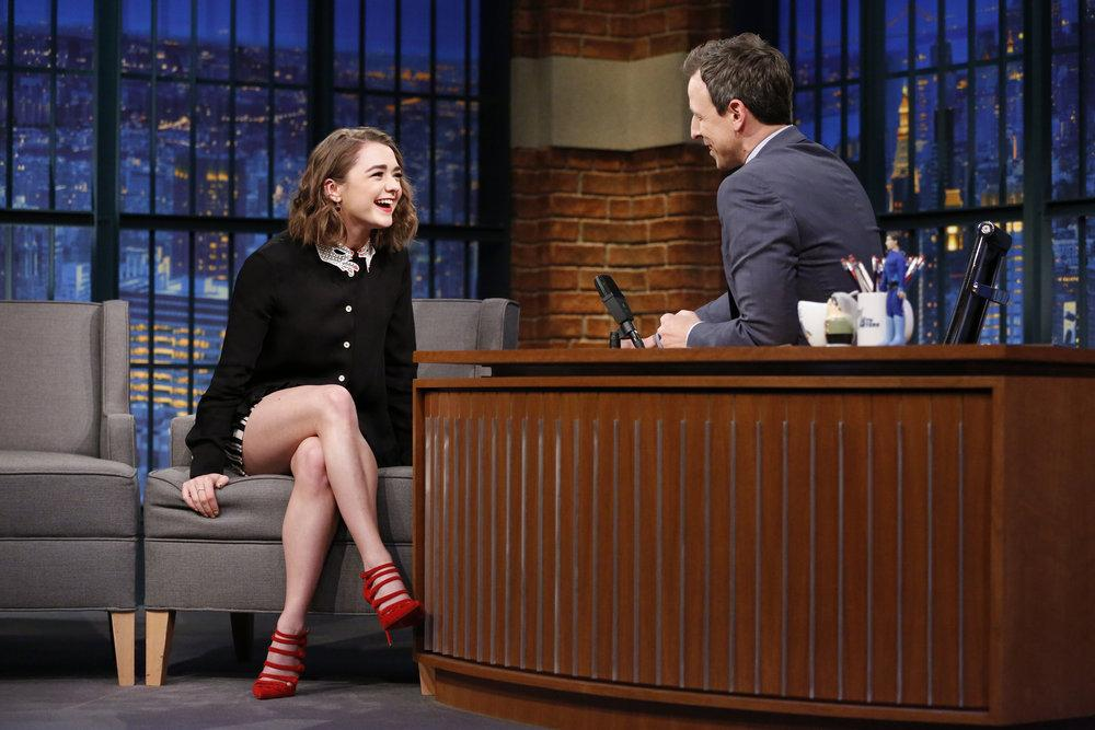LATE NIGHT WITH SETH MEYERS -- Episode 356 -- Pictured: (l-r) Actress Maisie Williams during an interview with host Seth Meyers on April 13, 2016 -- (Photo by: Lloyd Bishop/NBC)
