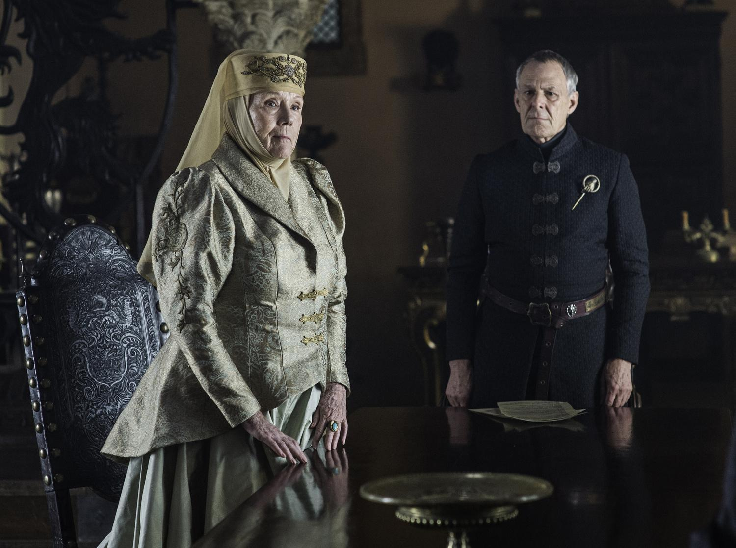 Diana Rigg as Olenna Tyrell and Ian Gelder as Kevan Lannister Credit: Helen Sloan/HBO