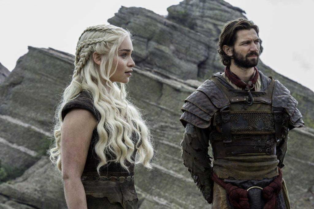 Emilia Clarke as Daenerys Targaryen and Michiel Huisman as Daario Naharis. Credit: Macall B. Polay/HBO