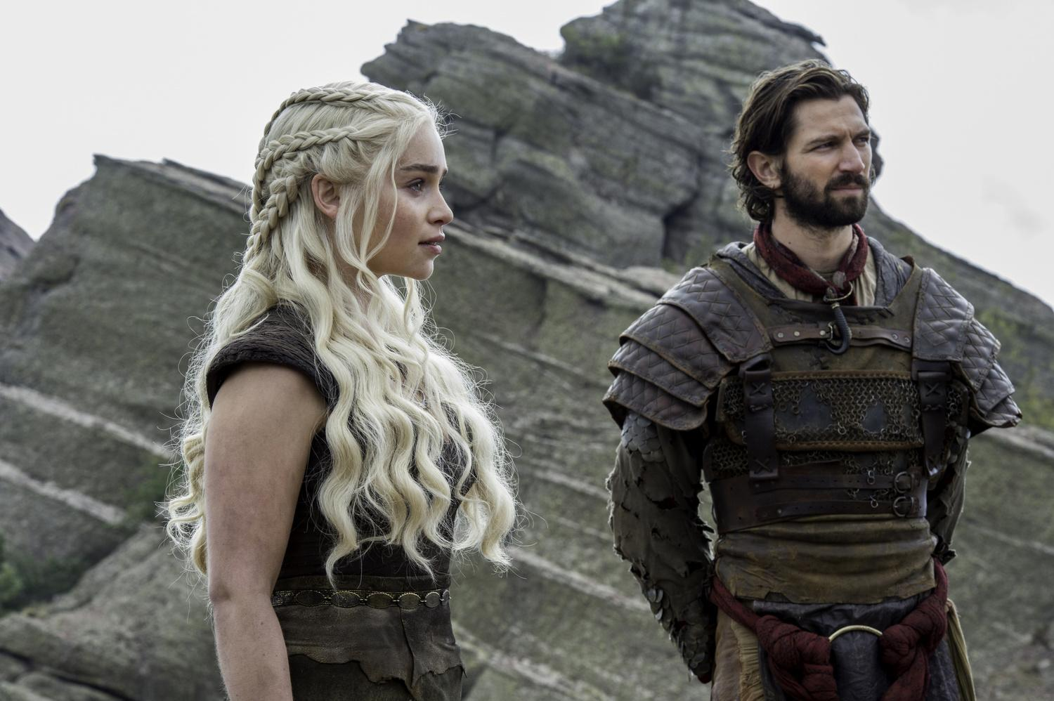 Emilia Clarke as Daenerys Targaryen and Michiel Huisman as Daario Naharis. Credit: Macall B. Polay/HBO
