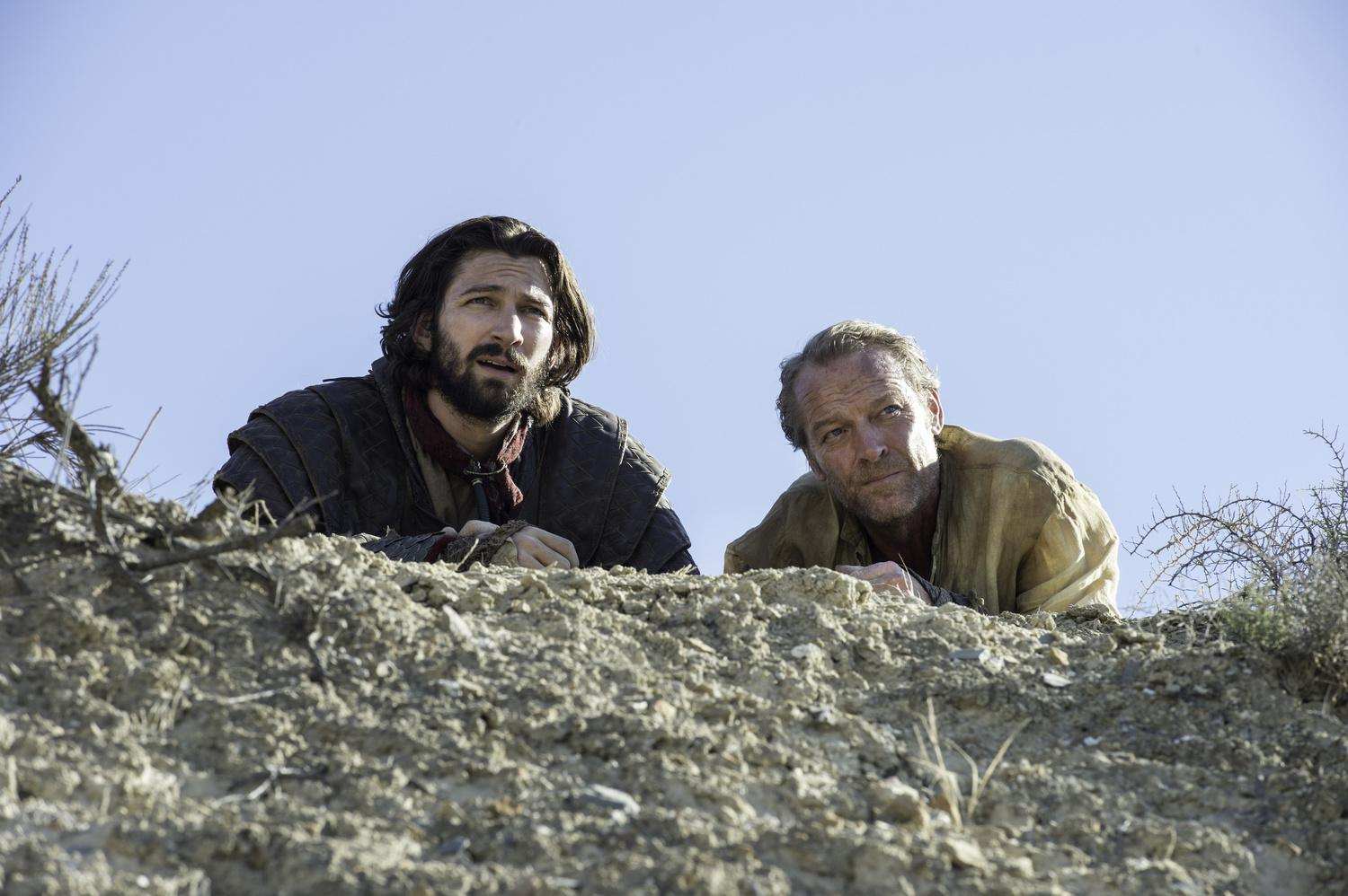 Michiel Huisman as Daario Naharis and Iain Glen as Jorah Mormont Credit: Macall B. Polay/HBO