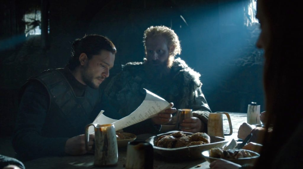 "Jon Snow reads Ramsay Bolton's letter in ""Book of the Stranger"""