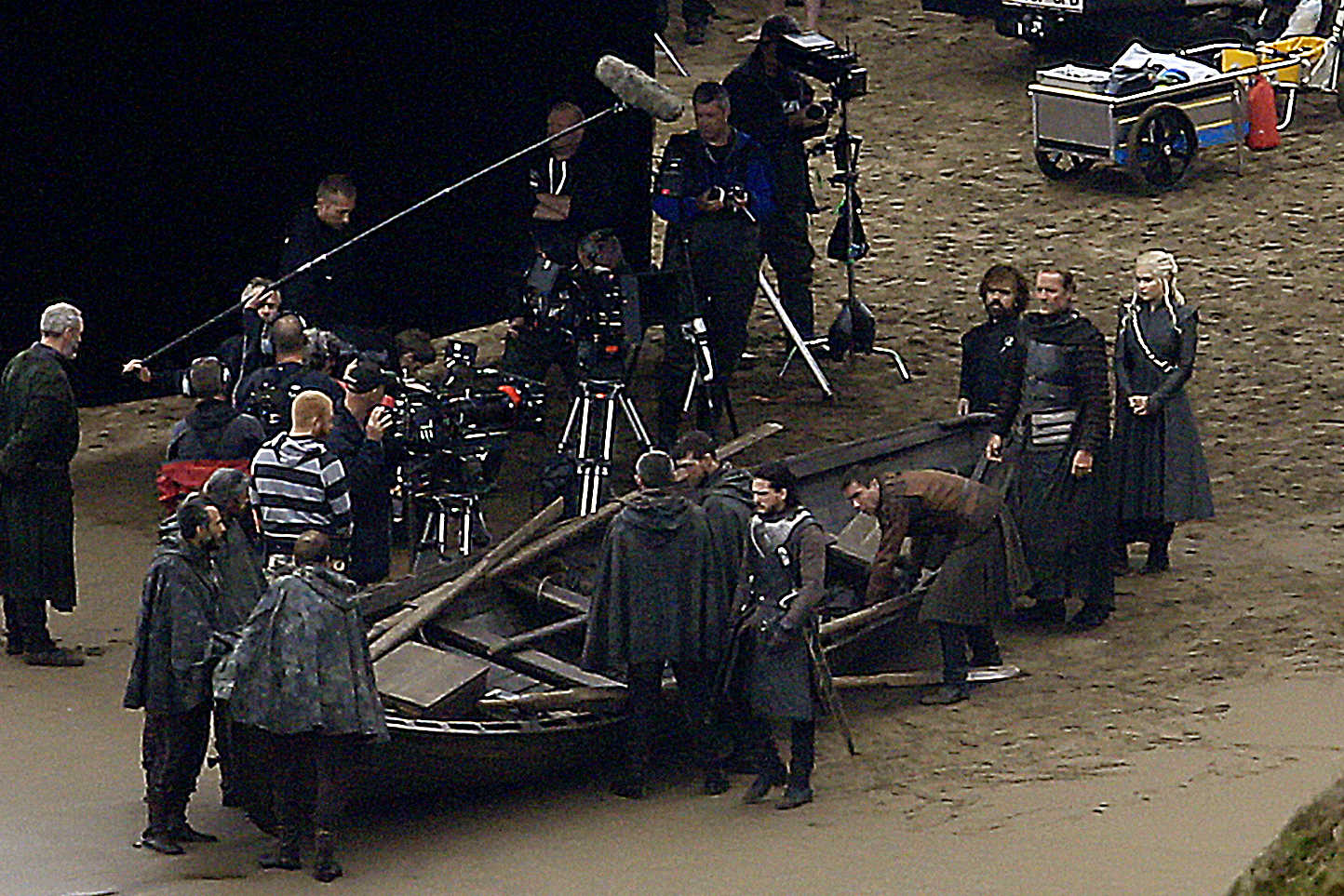 Kit Harington (Jon Snow), Emilia Clarke (Daenerys Targaryen), Peter Dinklage (Tyrion Lannister) and Iain Glen (Ser Jorah) are seen on the set of Game of Thrones which is currently filming for its seventh series in Northern Spain