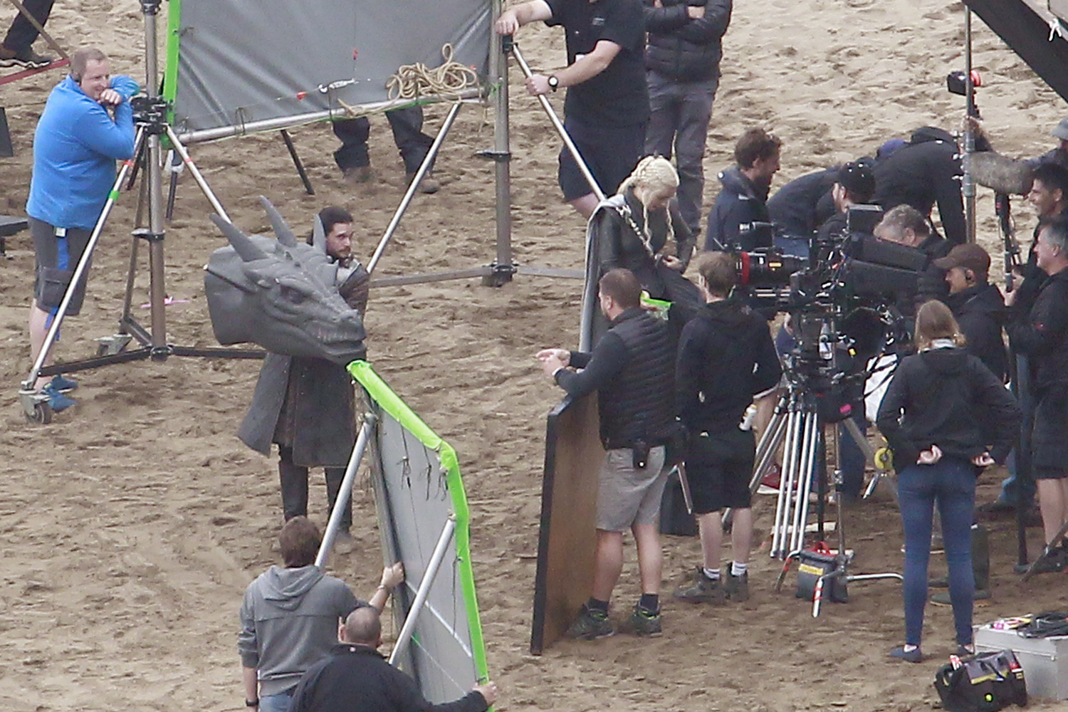 Emilia Clarke and Kit Harington film scenes for season 7 of Game of Thrones on a beach in northern Spain.