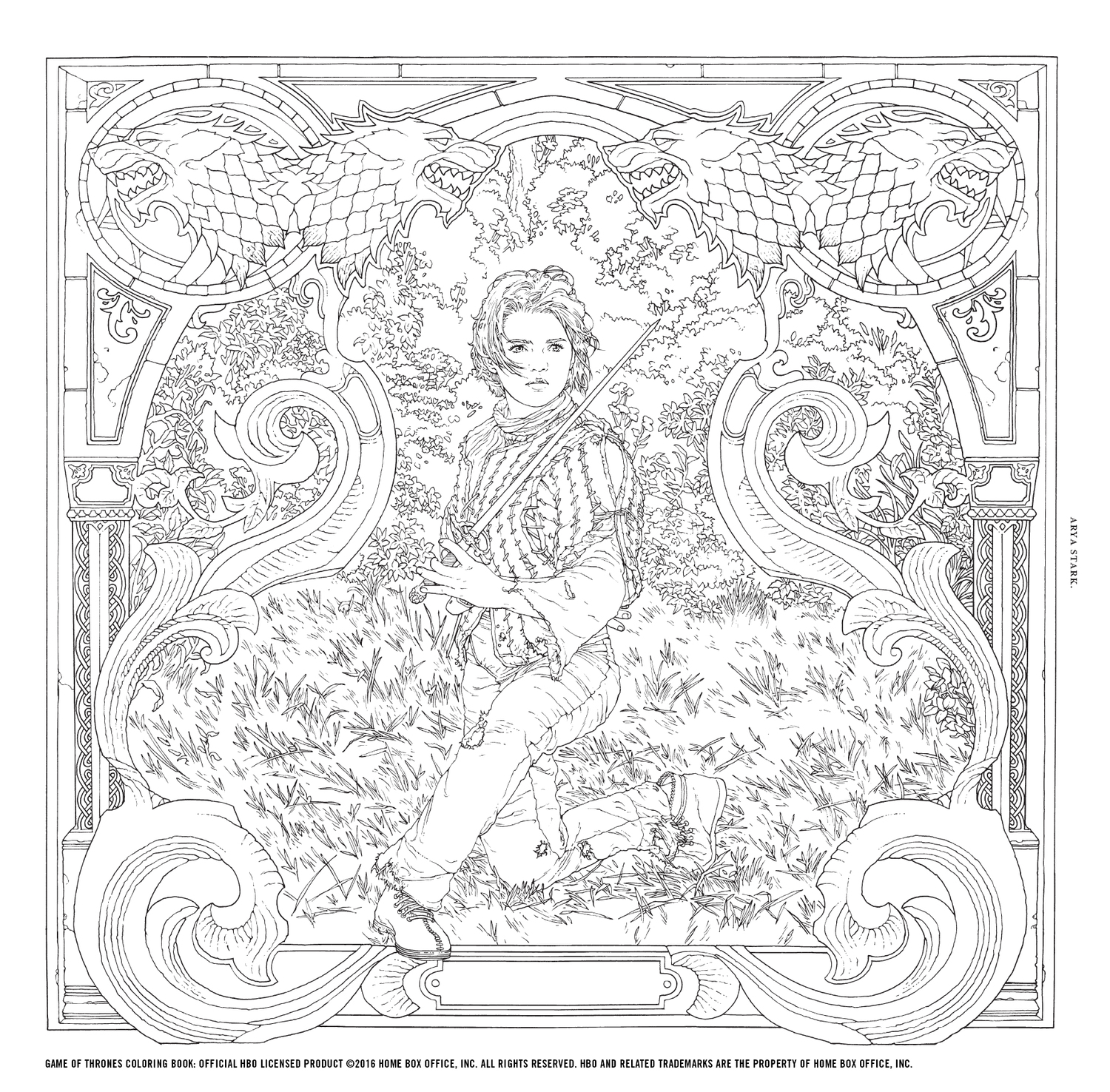 arya page_crline you can check out more preview art from hbos game of thrones coloring book - Game Of Thrones Coloring Book