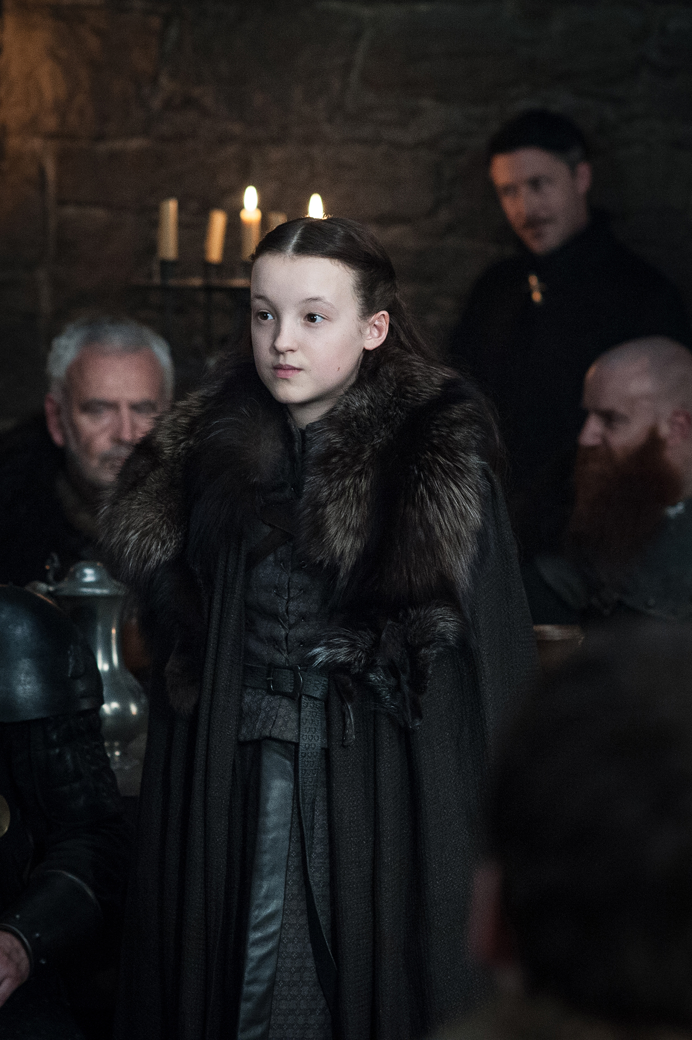 Lyanna Mormont (Bella Ramsey) and Littlefinger (Aidan Gillan) in Winterfell / Photo: Helen Sloan/HBO