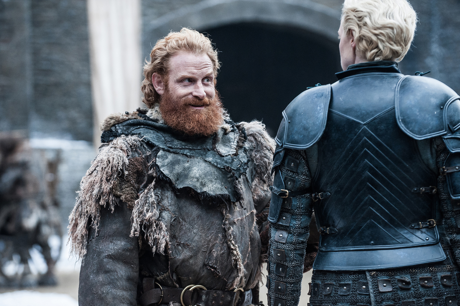Tormund (Kristofer Hivju) and Brienne of Tarth (Gwendoline Christie). Photo: Helen Sloan/HBO