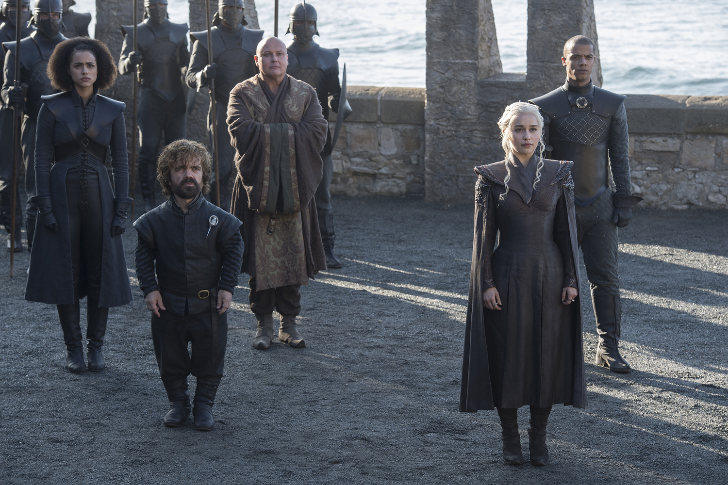 Daenerys (Emilia Clarke), Tyrion (Peter Dinklage), Missandei (Nathalie Emmanuel), Varys (Conleth Hill) and Grey Worm (Jacob Anderson) in their new stronghold / Photo: Helen Sloan/HBO