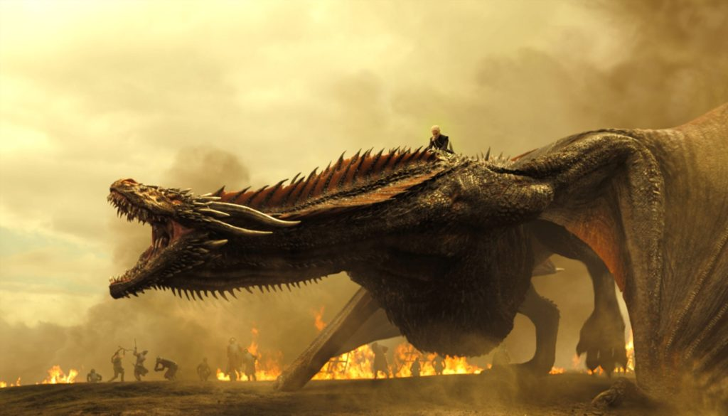 Drogon and Daenerys, likely during the battle in question