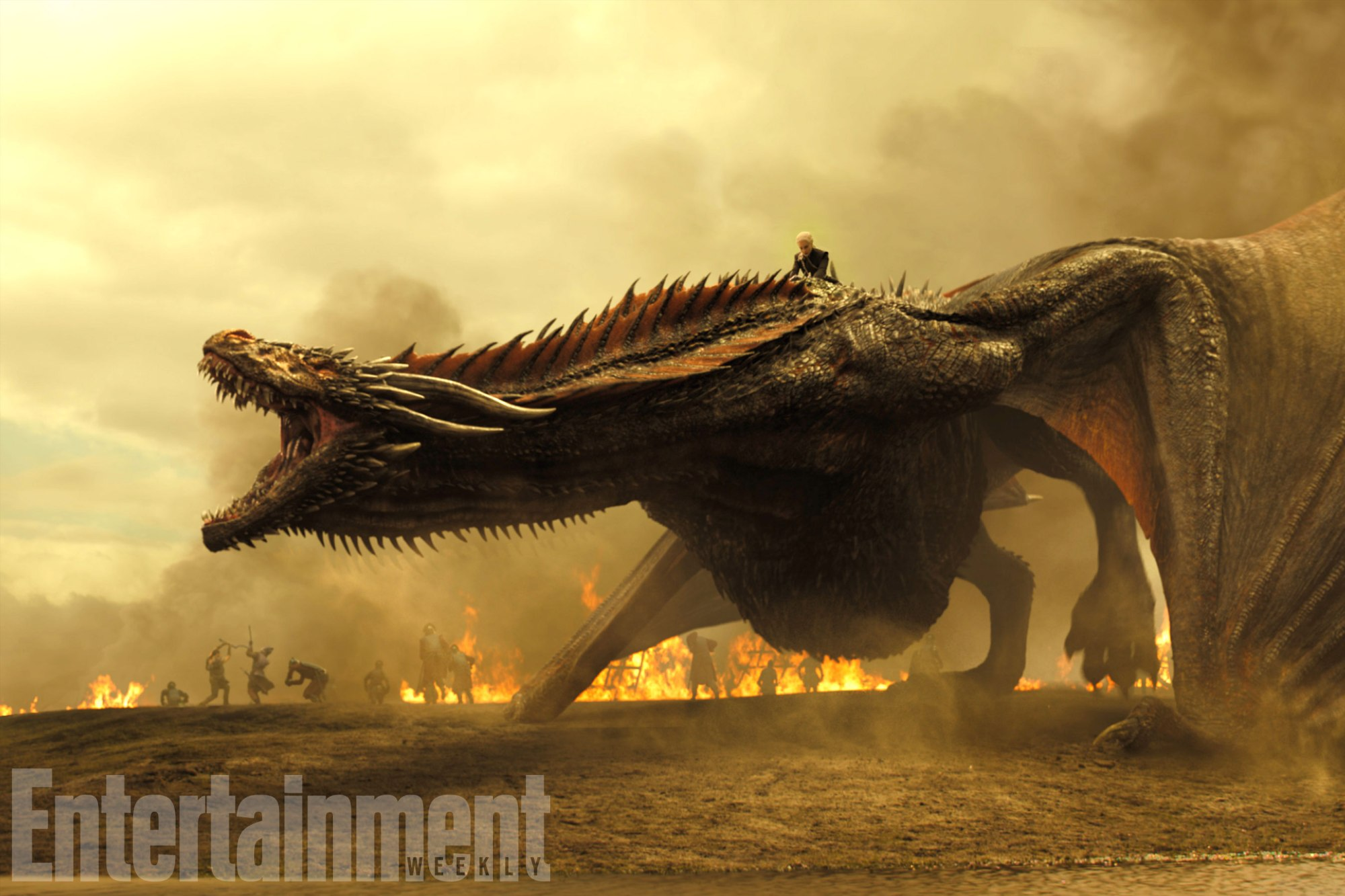 Emilia Clark as Daenerys Targaryen on Drogon, in a battlefield