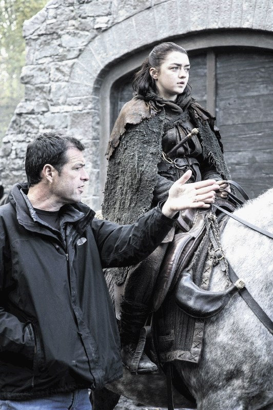 Maisie Williams as Arya Stark, with director Mark Mylod. Photo: HBO / Helen Sloan
