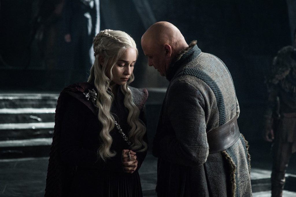 Emilia Clarke as Daenerys Targaryen and Conleth Hill as Varys. Photo: HBO