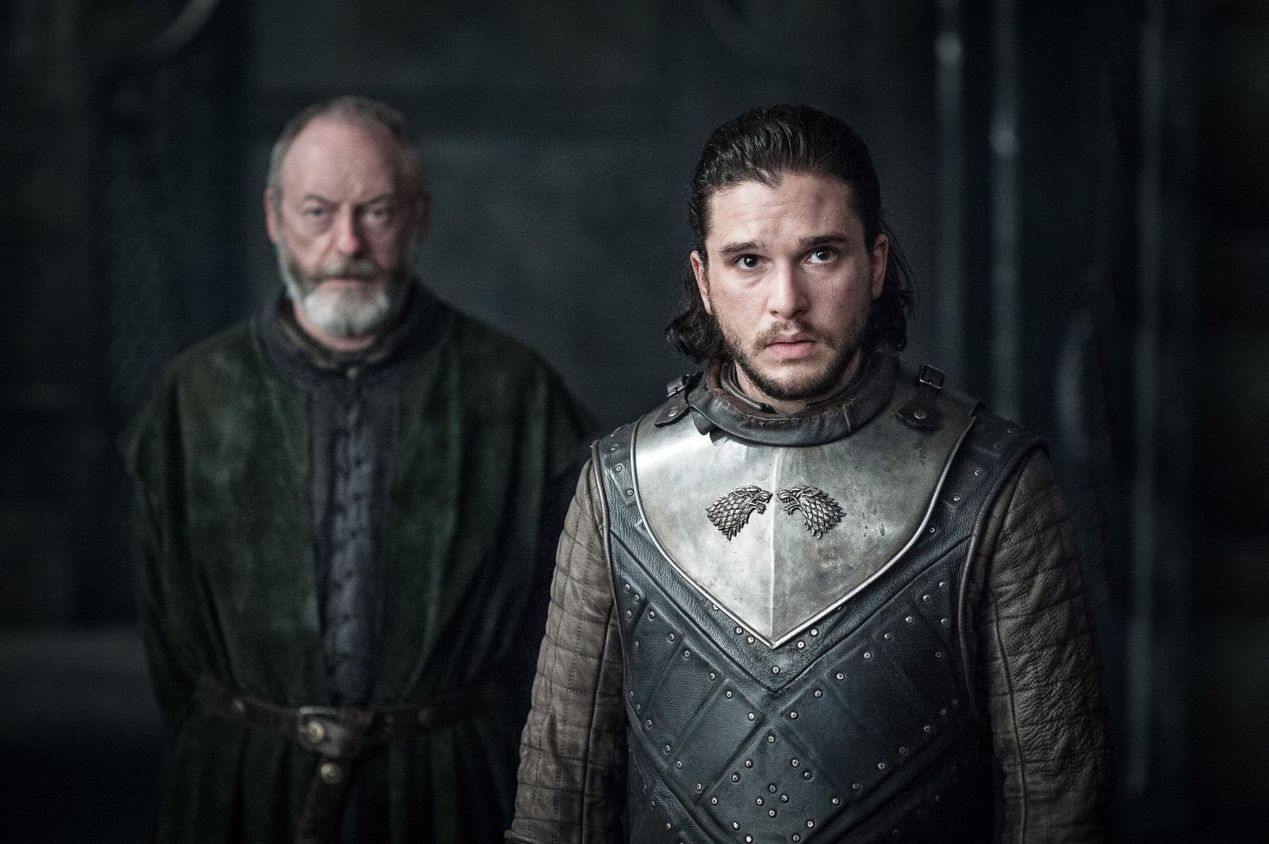 Kit Harington as Jon Snow and Liam Cunningham as Davos Seaworth. Photo: HBO