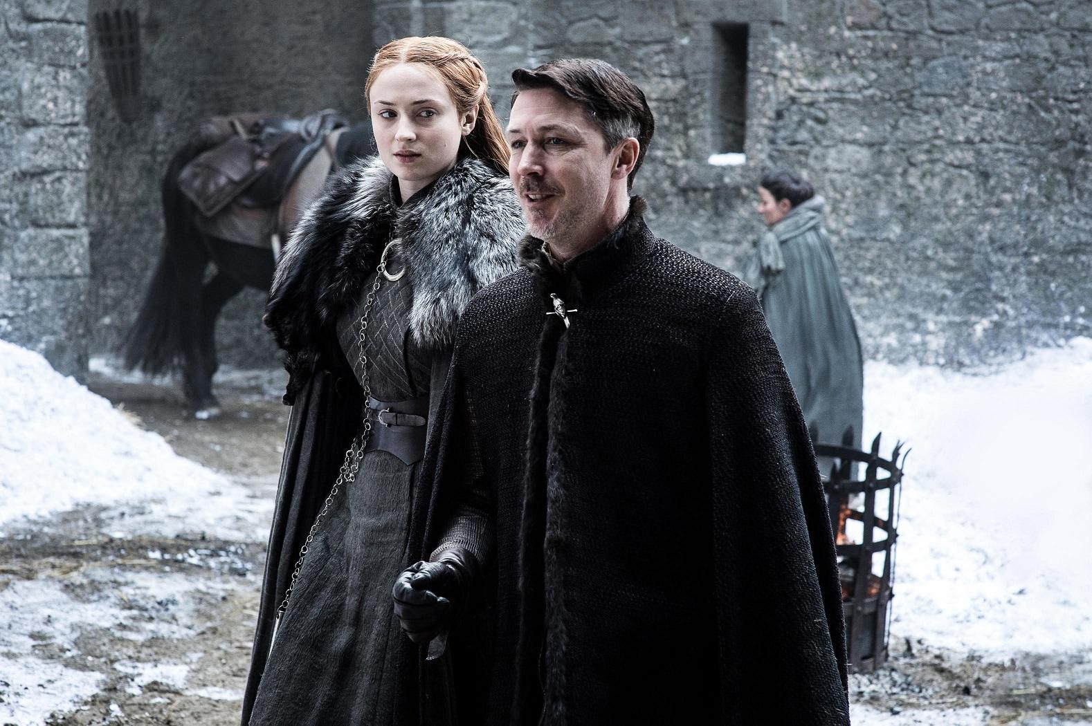 Sophie Turner as Sansa Stark and Aidan Gillen as Petyr Baelish. Photo: HBO