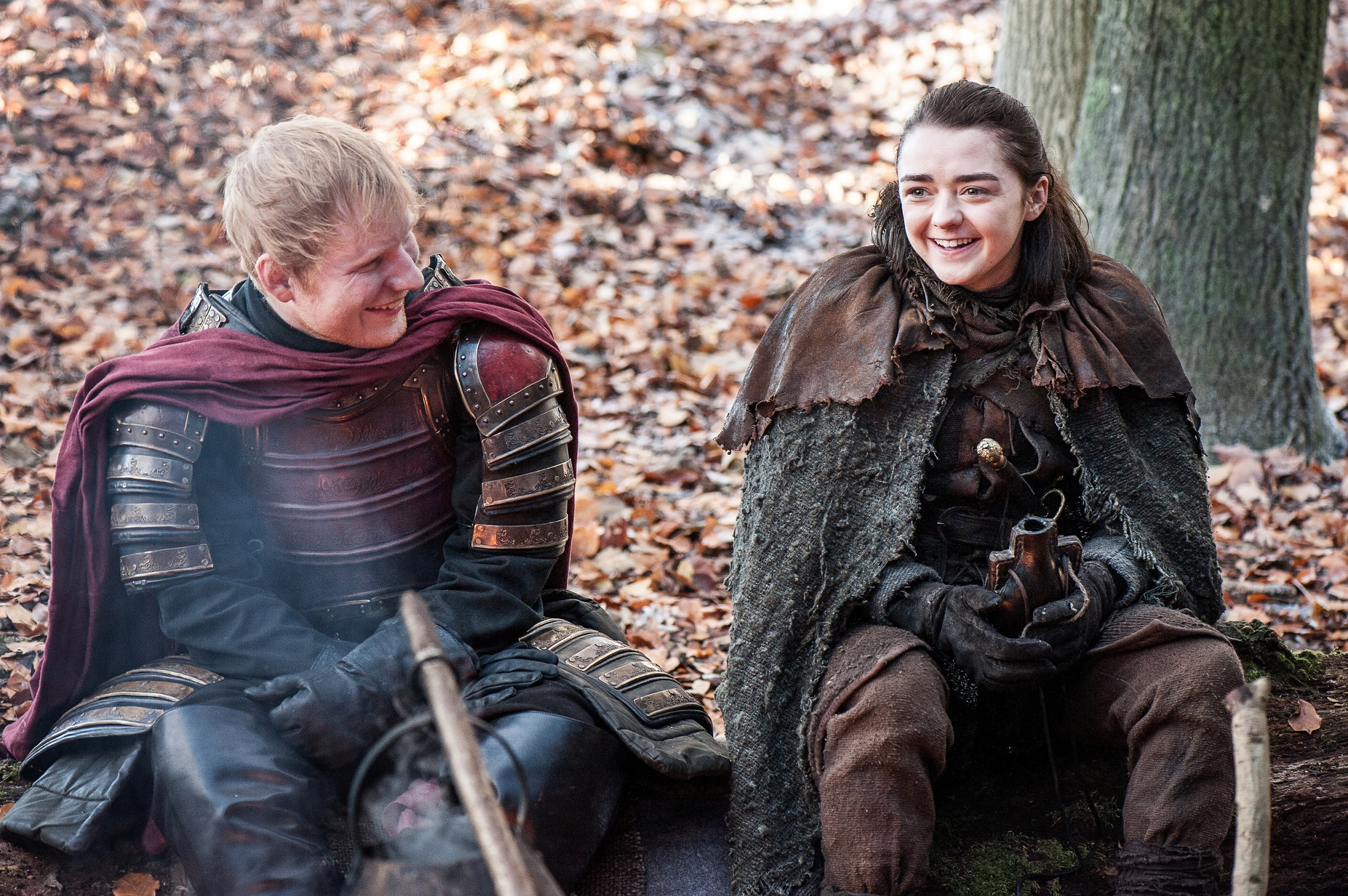 Ed Sheeran as Ed and Maisie Williams as Arya Stark. Photo: Helen Sloan/HBO