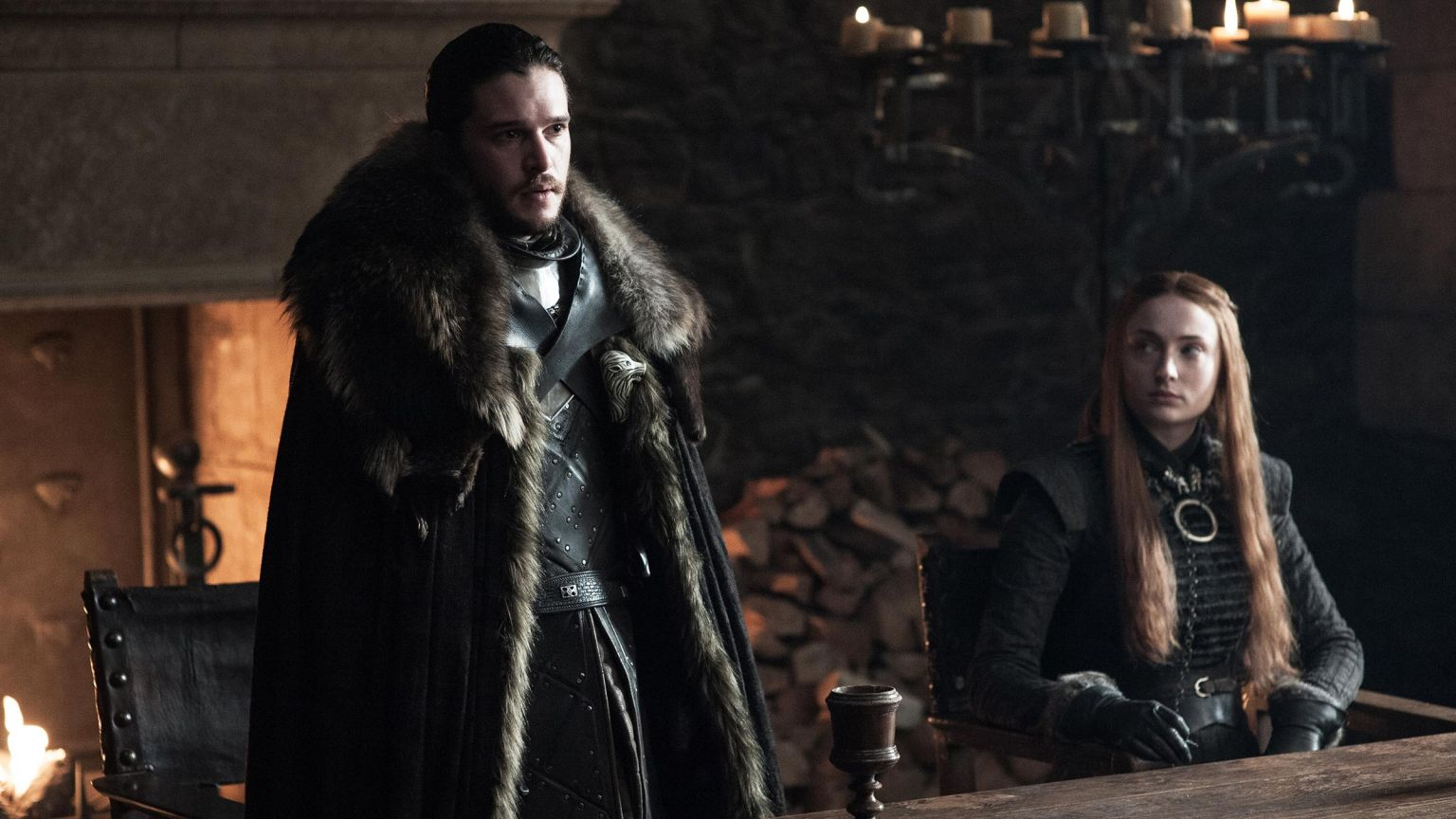 Kit Haringon as Jon Snow, Sophie Turner as Sansa Stark. Photo: Helen Sloan/HBO