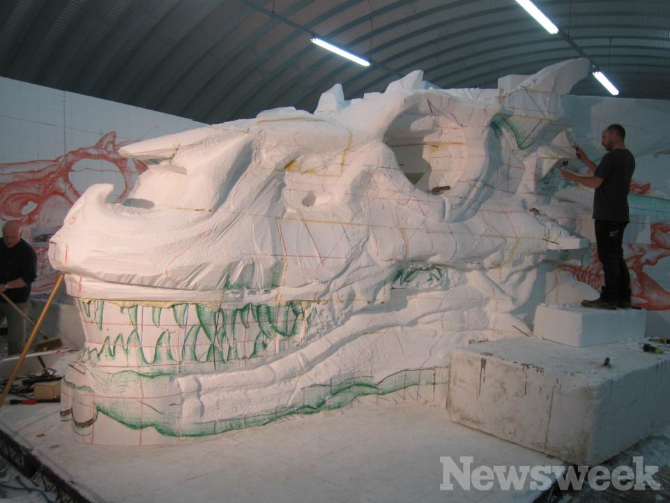 The sculpture department sculpts Balerion's skull. Photo: Newsweek