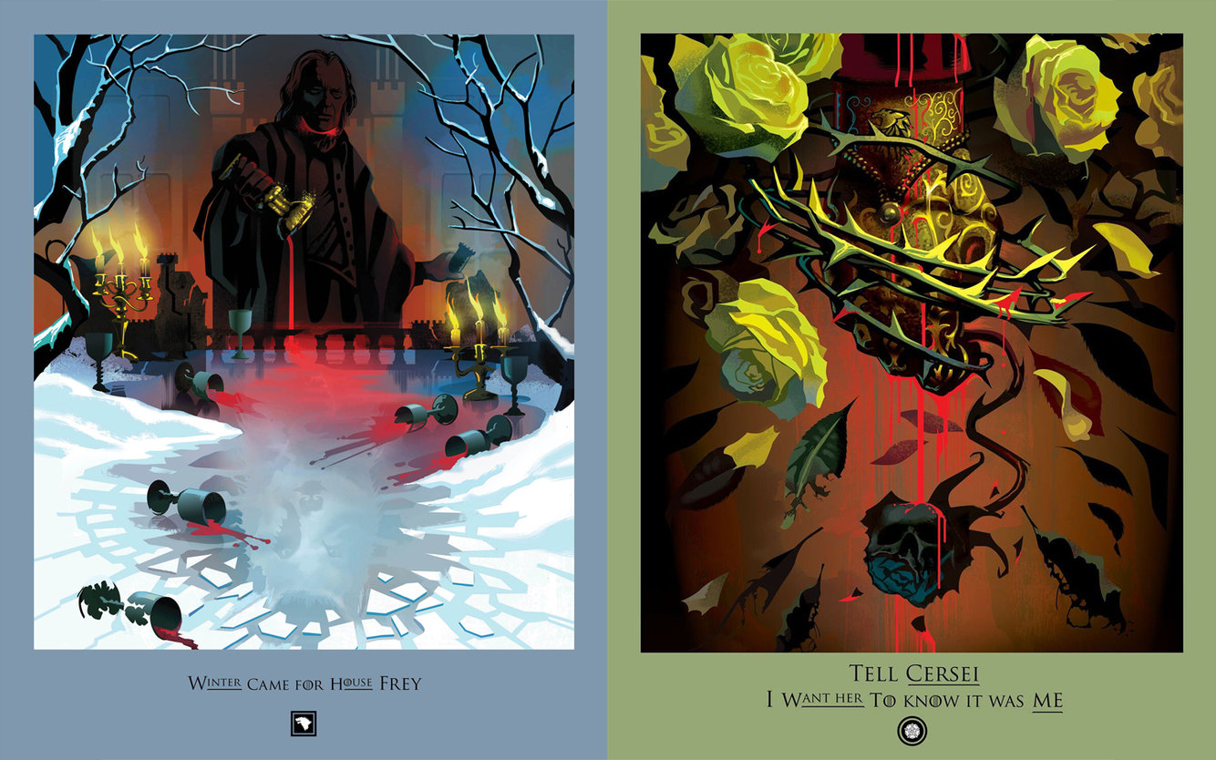 "Robert M. Ball's ""Beautiful Death"" posters for episodes 1 and 3 of season 7."