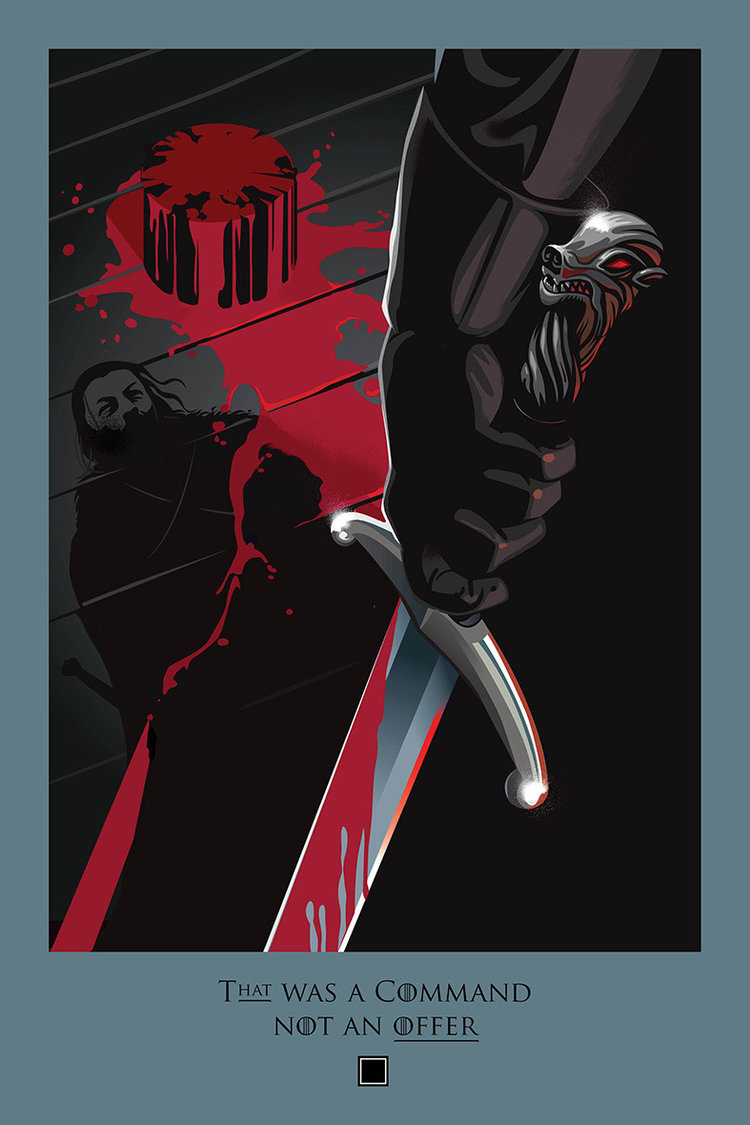 "Ball's ""Beautiful Death"" illustration from season 5, referencing Jon Snow beheading Janos Slynt at Castle Black."