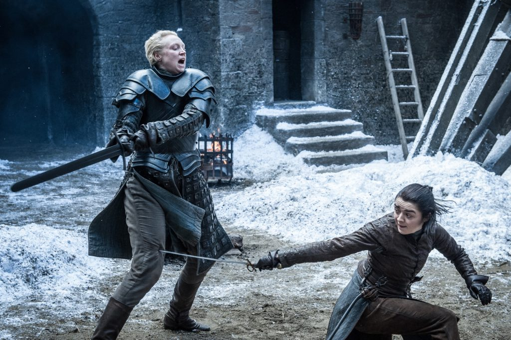 Brienne and Arya sparring the spoils of war