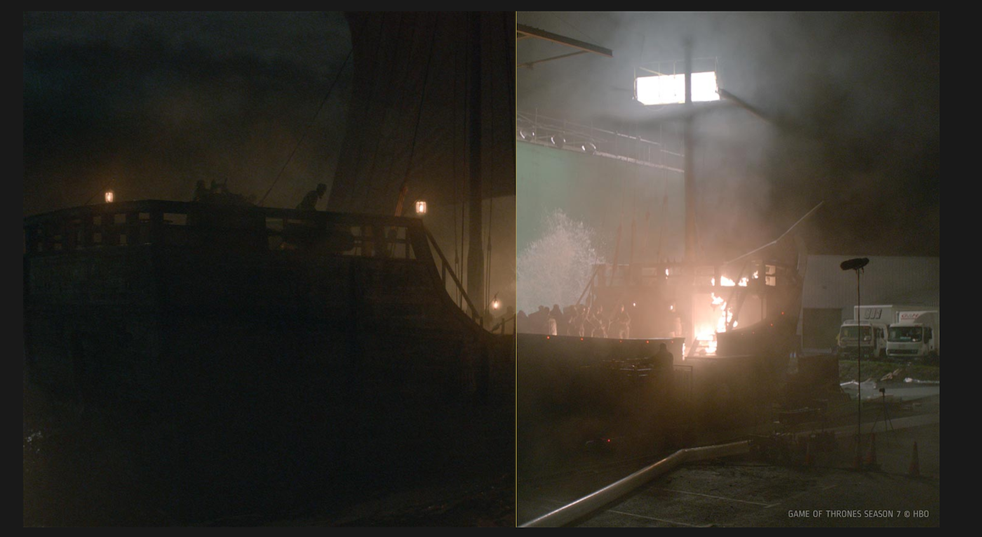 Filming the battle between the Iron Fleet and the Targaryen ships (right) and the finished product in the episode (left).