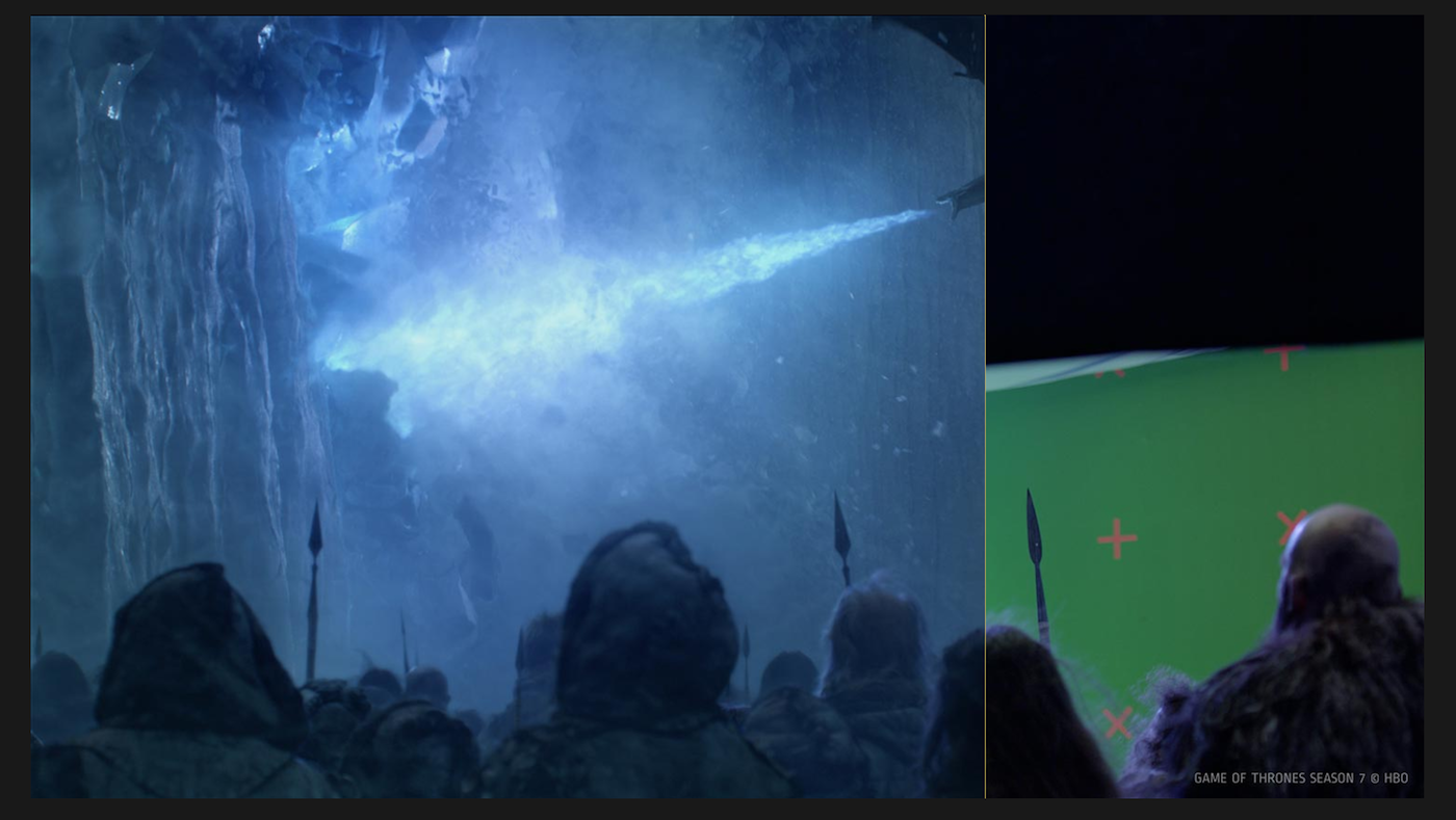 As impressive as the scene was of Viserion and the Night King taking down the Wall (left) in episode 7, the reality was filming in front of a green screen (right).