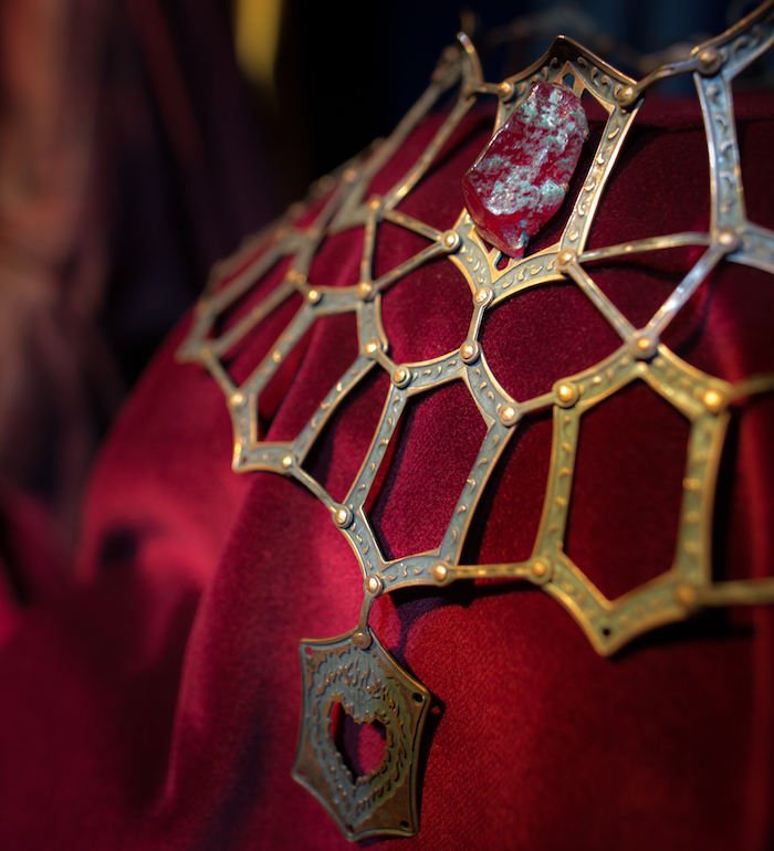 An up-close view of Melisandre's necklace, on display in the Noble House of Westeros room.
