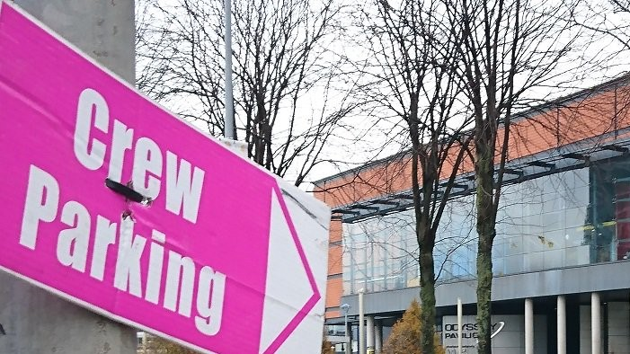 Crew Parking Pink Signs are popping up near Titanic Studios, which can't hold everyone anymore! | Photo: Irish Thrones