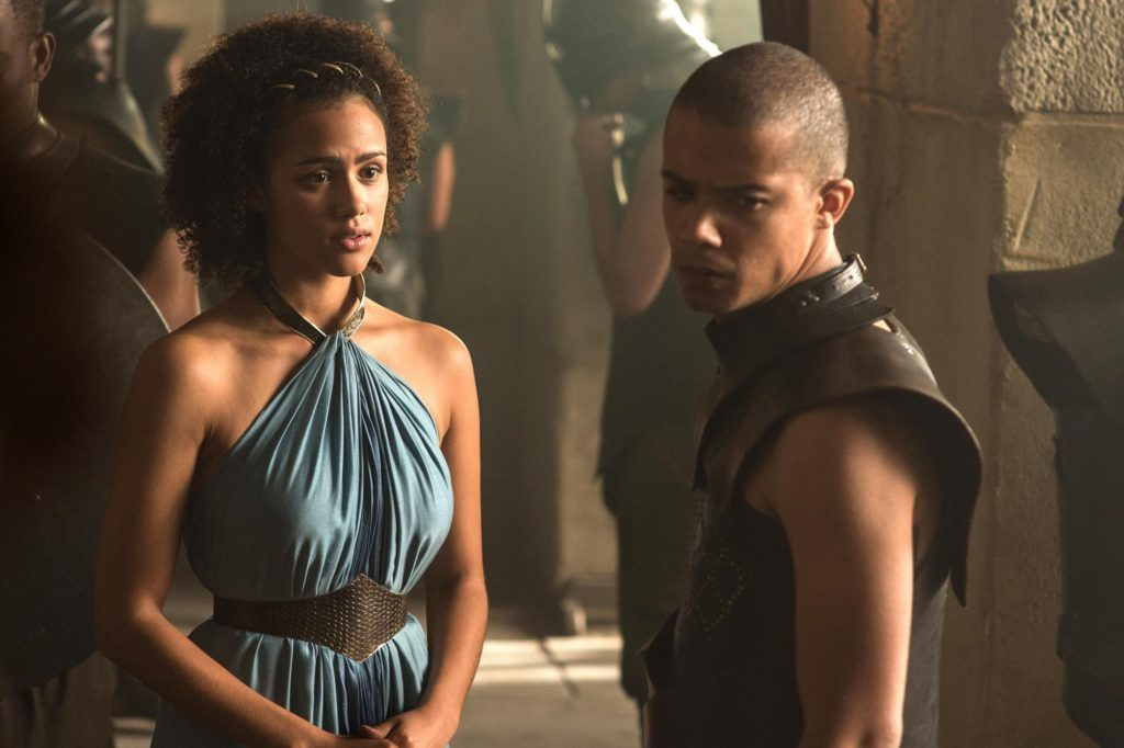 Game of Thrones (2015) Episode Title: Season 5, Episode TK Air Date: Nathalie Emmanuel as Missandei and Jacob Anderson as Grey Worm