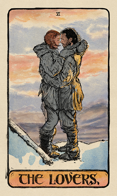 The Lovers card from the 'Game of Thrones' tarot deck.