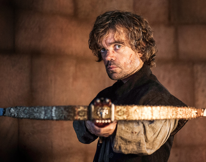 Tyrion holding the crossbow that he used to kill his father is one of the prints available from Classic Stills.