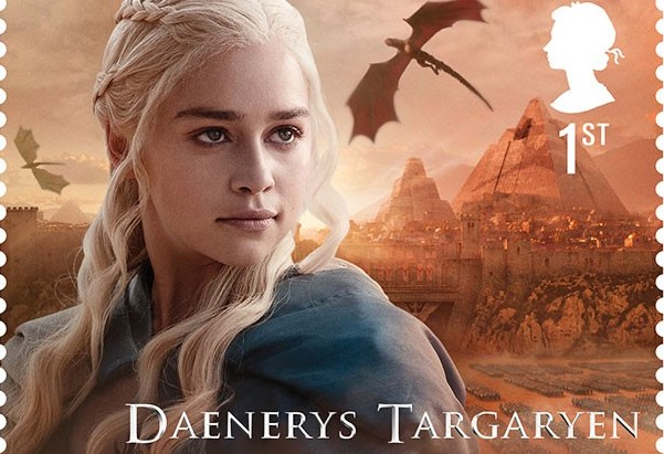 "The British Royal Mail service will introduce 15 ""Game of Thrones"" stamps, including this one of Daenerys Targaryen, on January 23."