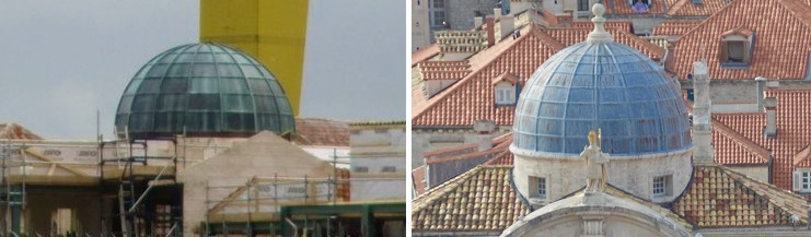 Titanic Studios set dome (left) / St Blaise's Church dome (right)