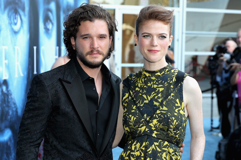 "LOS ANGELES, CA - JULY 12: Actors Kit Harington and Rose Leslie attend the premiere of HBO's ""Game Of Thrones"" season 7 at Walt Disney Concert Hall on July 12, 2017 in Los Angeles, California. (Photo by Neilson Barnard/Getty Images)"