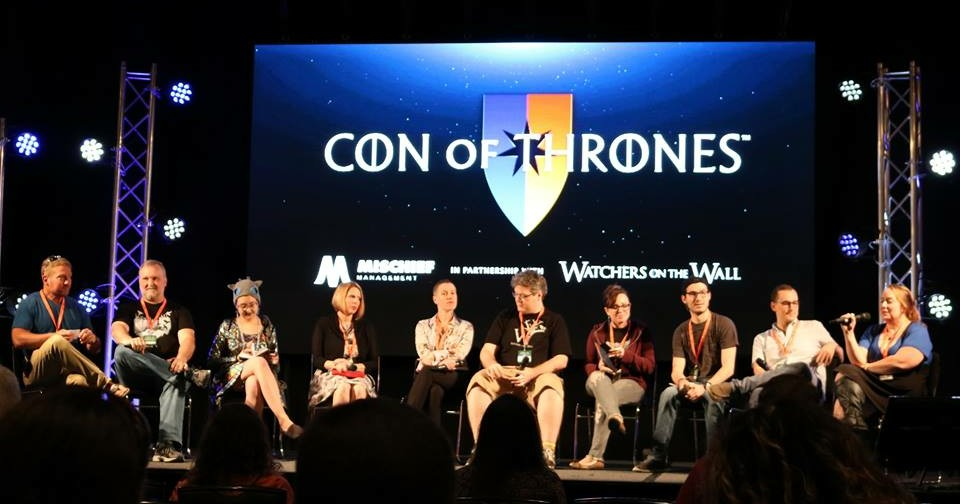 Watchers on the Wall panel at Con of Thrones 2018, with Oz of Thrones, Patrick Sponaugle, Bex, Vanessa Cole, Petra Halbur, JoeMagician, Sam Wallace, David Rosenblatt, Luka Nieto, and Sue the Fury.