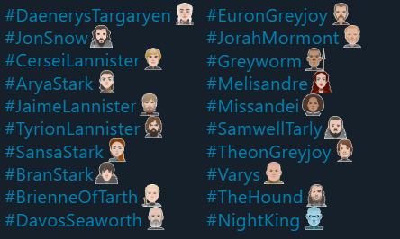 Game of Thrones Season 8 Emojis