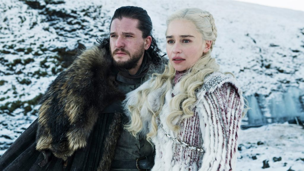 Harington as Jon Snow and Emilia Clarke as Daenerys in promotional photos for Season 8.
