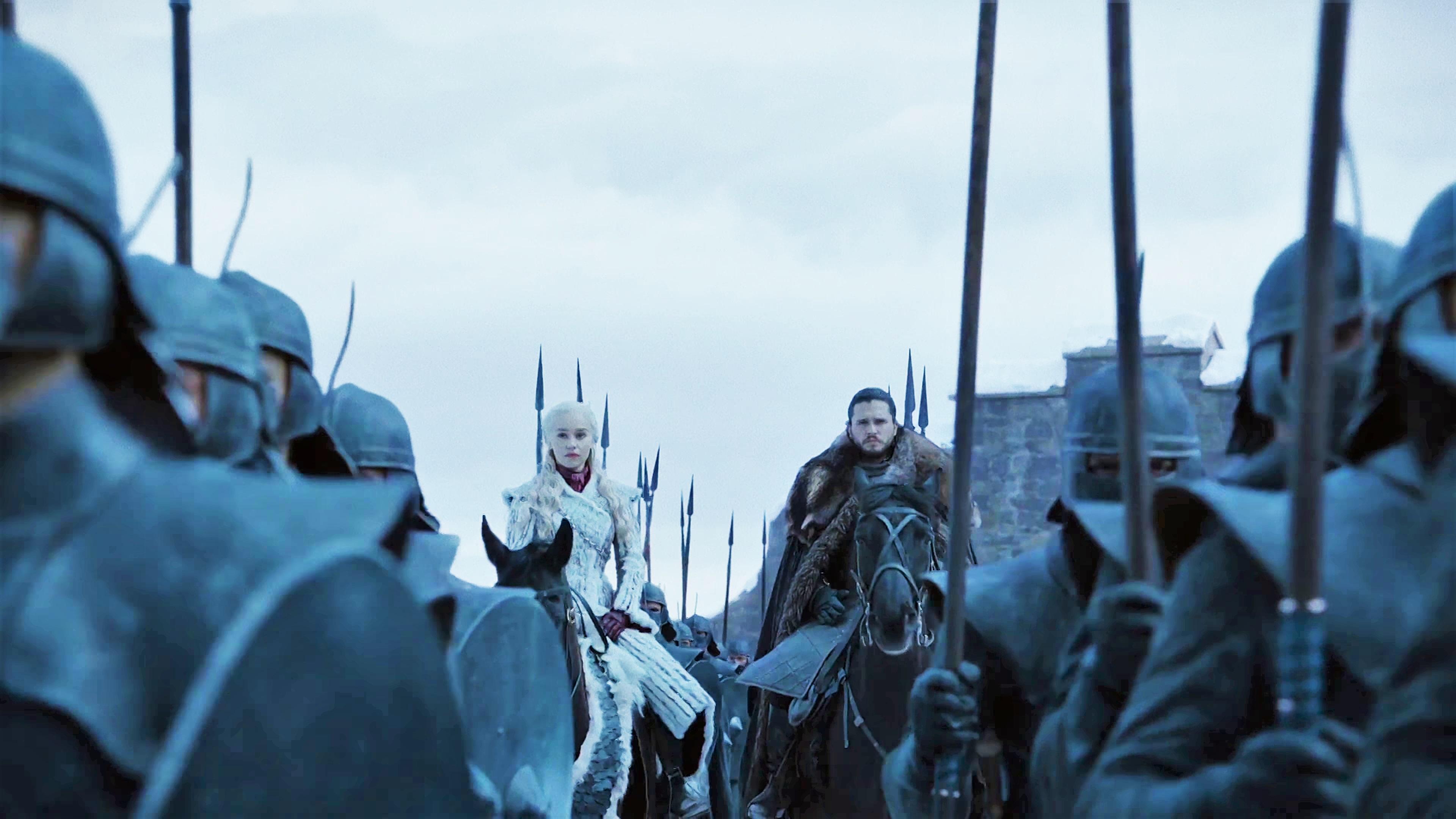 13. Season 8 Trailer Jon Snow Daenerys Targaryen Unsullied Winterfell Arrival