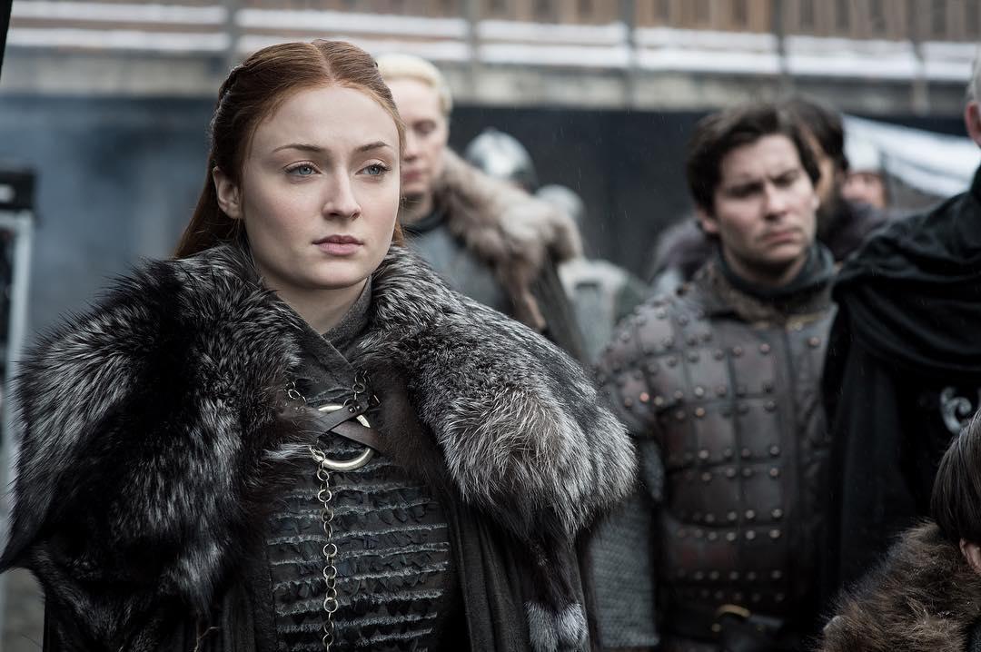 Sansa Stark (Sophie Turner), Brienne of Tarth (Gwendoline Christie), and Podrick Payne (Daniel Portman). Photo: HBO