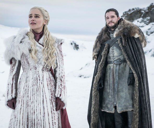 Daenerys Targaryen (Emilia Clarke), Jon Snow (Kit Harington). Photo: HBO, via Express.