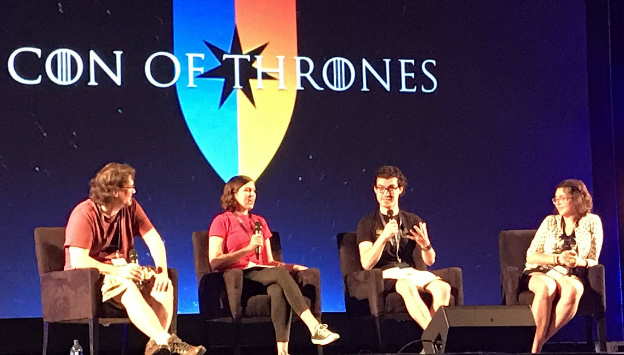 Axechucker, Kim Renfro, Me, and Bex, ardently defending Sansa Stark on our Con of Thrones 2017 panel.
