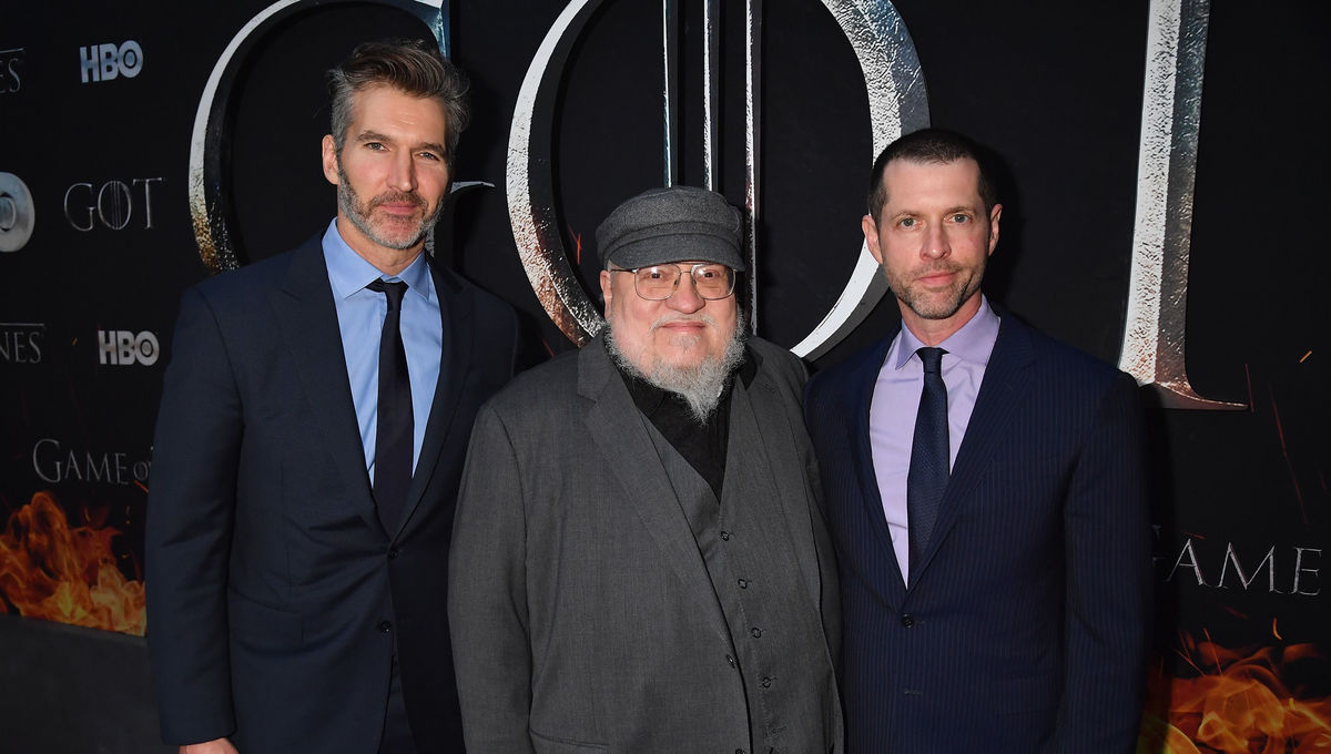 David Benioff, George R. R. Martin and D.B Weiss at Season 8 NYC Premiere. Photo by Jeff Kravitz/FilmMagic for HBO.