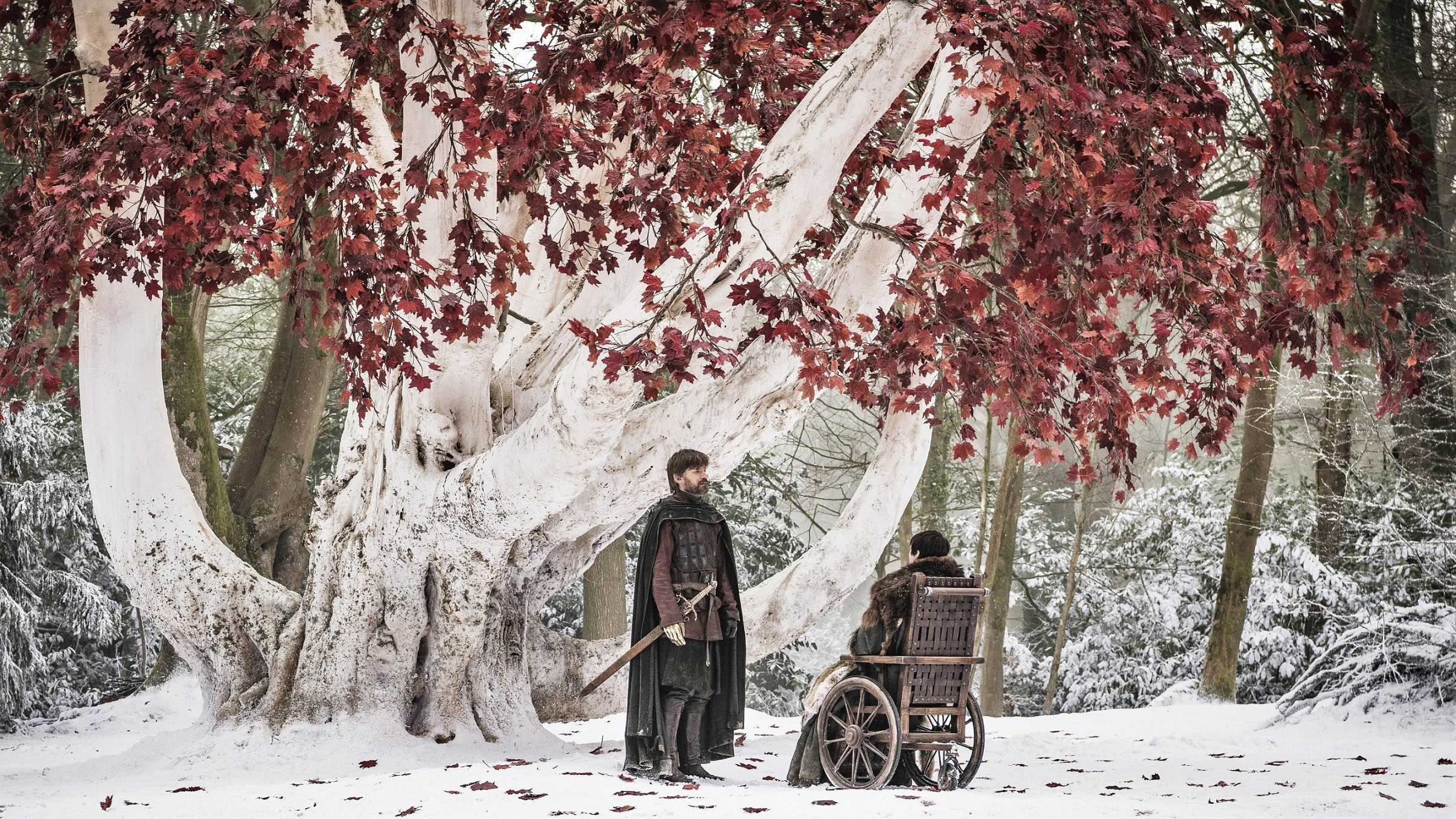 Jaime Lannister Bran Stark Season 8 802 Weirwood Heart tree Godswood Winterfell